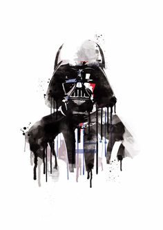 Watercolor darth vader star wars alternative poster scifi nerd movie art dark…