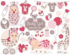 ITEM: Baby Girl Giraffe Clipart - Vector Baby Girl Giraffe Clipart, Baby Shower Clipart, Baby Girl Clipart, Baby Giraffe Clip Art for Personal and Commercial Use  WHAT INCL... #thecreativemill