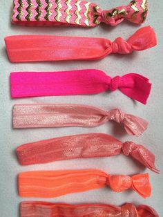 A personal favorite from my Etsy shop https://www.etsy.com/listing/230726626/pink-orange-ombre-hair-tie-sethair-tie