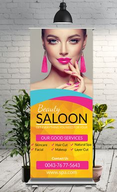 Beauty Roll Up Banner – 🔥Freelance Graphic Designer🎨 Beauty Roll Up Banner This Roll-Up Banner Template is perfectly suitable for promoting your Business. You can also use this template in multipurpose advertising purpose Beauty Salon Logo, Hair And Beauty Salon, Beauty Flyer Ideas, Rollup Banner Design, Web Banner Design, Retractable Banner, Promotion, Beauty Studio, Salon Design