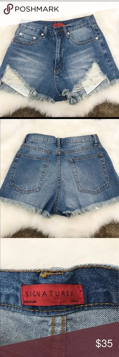 Shop Hope's Denim Shorts Small These are a pair of not worn Denim distressed shorts from Shop Hopes! Size Small or size 4. Shorts Jean Shorts