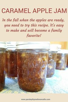 caramel apples Its officially fall! Cooler temperatures, bonfires, soups and chowders, hot chocolate, and apples! Lots and lots of apples. This is one of our favorite jams. Canning Apples, Canning Tips, Canning Recipes, Preserving Apples, Preserving Food, Apple Sauce Canning, Homemade Jam Recipes, Apple Pie Jam, Apple Jelly