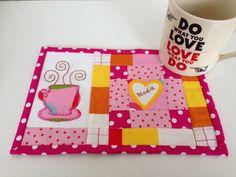 cup and heart Mug Rug