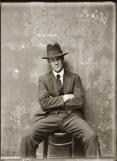 Mug shot of Herbert Ellis. Presumed Central Police Station, Sydney, around 1920.  The precise circumstances surrounding this picture are unknown, but Ellis is found in numerous police records of the 1910s, 20s and 30s. He is variously listed as a housebreaker, a shop breaker, a safe breaker, a receiver and a suspected person. A considerably less self-assured Ellis appears in the NSW Criminal Register of 29 August 1934 (no. 206).