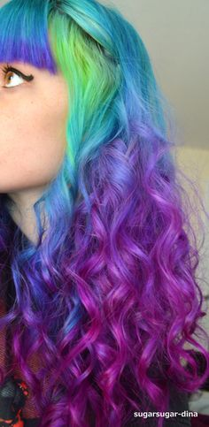 Blue purple fading ombre rainbow hair