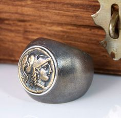 Ancient  Coin Ring - Men or Woman's Ring - Athena - Sterling Silver