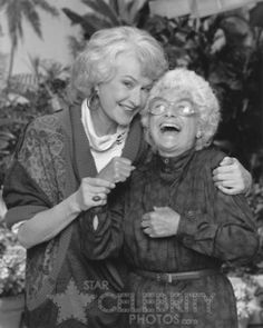so cute!  Golden Girls - Bea Arthur - Dorothy and Estelle Getty -- Sophia.  Great times!