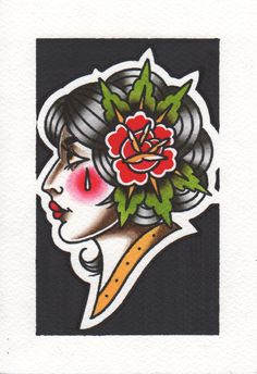 #women #girl #tattoo #flash #oldschool #traditional #rose #cry #color #patkarpeza