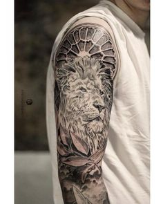 Photo by (hgtv) on Instagram | #fiistattoo #natgeo #design #sleevetattoo #germany #inked #ink #blackandgrey #geomtrical #portrait #tattosleeve #armtattoo #armtattoos #art #arm #artwork #sleeve #clock #armtattoo #arm #lions #liontattoo #lioness #tattoos #tattoo #photorealism #realism #3d #lion