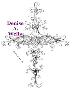 Angel Wing Mom Tattoo Design by Denise A. Wells made into a Cross including butterfly, filigree and Cherry Blossoms...