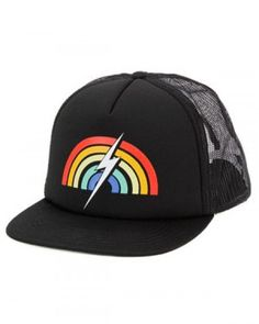 e043e0737ce Lightning Bolt Rainbow Trucker Black Cap