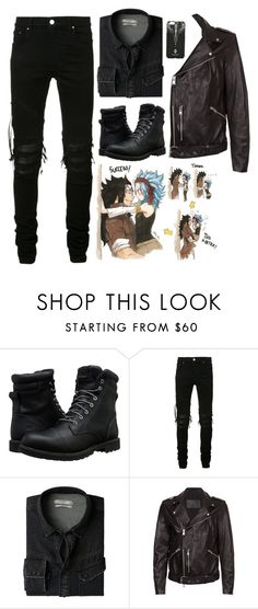 """Gajeel Redfox"" by kitkat2243 ❤ liked on Polyvore featuring Timberland, AMIRI, MANGO MAN, AllSaints, Marcelo Burlon, men's fashion and menswear"