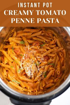 Fresh Penne Pasta cooked in a creamy tomato sauce - a super delicious one-pot dinner, perfect for busy week nights! | Creamy Tomato Pasta | Instant Pot Pasta Recipe | Instant Pot vegetarian recipes | #vegetarianrecipe #instantpotpasta #onepotdinner | pipingpotcurry.com Tomato Pasta Recipe, Creamy Tomato Pasta, Instant Pot Pasta Recipe, Instant Pot Dinner Recipes, Pasta Recipes For Kids, Penne Pasta Recipes, Creamy Pasta Recipes, One Pot Recipes, One Pot Vegetarian