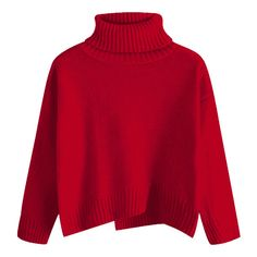 Slit Oversized Turtleneck Sweater Red ( 19) ❤ liked on Polyvore featuring  tops 011826c92