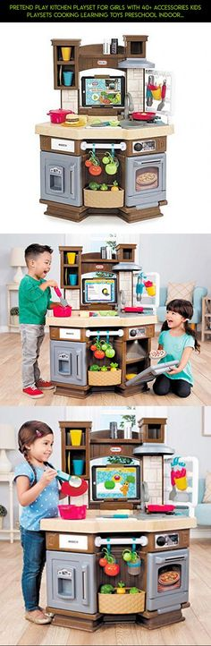 Pretend Play Kitchen Playset For Girls With 40+ Accessories Kids Playsets Cooking Learning Toys Preschool Indoor Outdoor NEW #technology #gadgets #racing #fpv #plans #drone #camera #shopping #parts #kit #tech #toys #products #outdoor #cooking