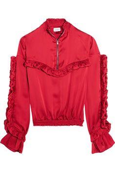 MAGDA BUTRYM Granada ruffled silk-satin blouse. #magdabutrym #cloth #tops