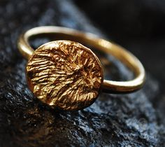 Gold 14 karat plated delicate Signet ring  plated gold ring junam jewelry ring