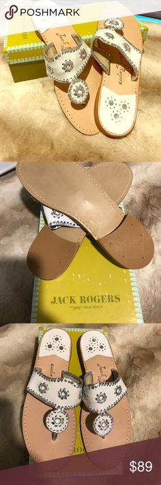 🎉 Jack Rogers Brand New in box! 🌟 Beautiful white/metallic silver Hamptons Jack Rogers sandals. Brand new in box. A must have for summer! Jack Rogers Shoes Sandals