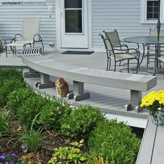 This small outdoor deck is perfect in so many ways. | more small deck ideas at archadeckwestcounty.com Curved Bench, Built In Bench, Vinyl Deck, Deck Colors, Small Outdoor Spaces, Backyard, Patio, Composite Decking, Wooden Decks