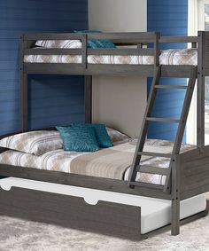Donco Kids Gray Louver Twin/Full Trundle Bunk Bed | zulily