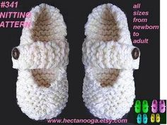 Mary Jane Slippers, baby to adult, Beginner level, KNITTING PATTERN # 341 Newborn to Adult large.