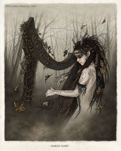 "Mousie Masala - megarah-moon:   ""Naked Harp"" by Victoria Frances"