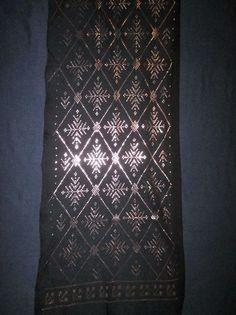 Lovely medium-width black Assuit belly dance shawl hip head scarf veil EGYPT #Assuit
