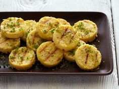 Grilled Chickpea Polenta Cakes with Chive Oil and Lemon #myplate #protein