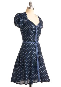 Thanks a Dot Dress. For keeping up the tally of stylish young ladies out there, for never forgetting what an adorable blue dress like this can do for your attitude, and for feeling as flirty in this fun polka dotted dress as possible, we want to thank you! #blue #modcloth
