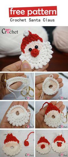 Santa Claus Christmas Hanging Decoration Free Crochet Pattern #CrochetChristmas