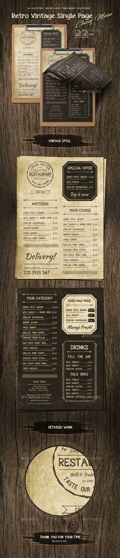 Retro Vintage Single Page Classy #Menu A4 & US Letter - #Food Menus Print Templates