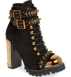 Jeffrey Campbell Scorpius Armored Lug Boot (Women) available at Pumps Heels, Stiletto Heels, High Heels, Crazy Shoes, Me Too Shoes, Heeled Boots, Shoe Boots, Chunky Heel Boots, Girls Shoes