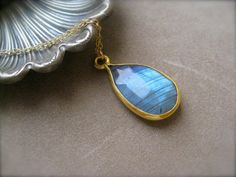 Large Labradorite  Briolette  Pendant Necklace by SMVdesigns, $72.00