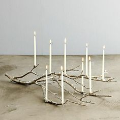 Beautiful.  Take a fallen tree brach.  Spray with silver paint and glue on candles.  Perfect centerpiece or conversation piece at Christmas.