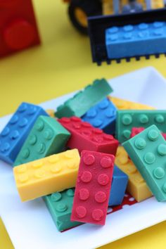 Lego Chocolate Candy - Made some of these for our party, too.  #LegoDuploParty