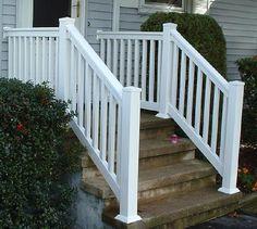 outdoor stair railing   Vinyl PVC Railing Installation Pictures Warwick Rail
