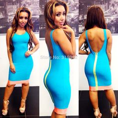 Women Summer Dress Celebrity Party Dress 2014 New Style Blue Sleeveless Backless Evening Party Dress women Bandage Dress S