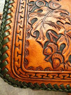 Western floral, Sheridan style,Oak Leaves Hand tooled personalized flash-drive eyeglass case  #eyeglasses_Case #leatherwork