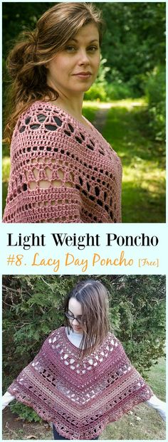 Crochet Lacy Day Poncho Free Pattern-Light Weight Spring Summer #Poncho; Free #Crochet; Patterns