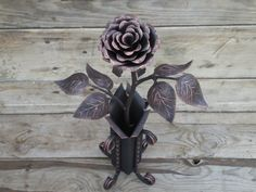 Forged rose in the vase, Metal rose, Iron flower, Metal sculpture, Wrought iron…