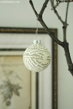 Anthro-inspired newspaper ornaments