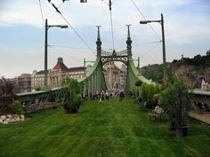A bridge with a temporary park on it in Budapest