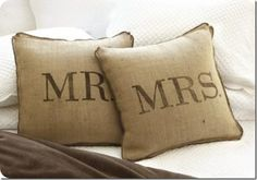 Mr and Mrs DIY Burlap Pillow. Exactly as is for love sofa bride and groom table. Love.