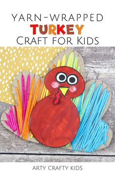 Looking for Thanksgiving turkey crafts for kids to make? This turkey yarn wrapping craft for kids is a fun fine motor skills activity for preschoolers   easy for children to make with our printable turkey craft for kids template. Get the printable craft template for this yarn wrapped turkey craft for kids plus other preschool Thanksgiving crafts for kids here! Yarn Wrapping for Kids | Turkey Yarn Crafts for Kids | Thanksgiving Yarn Crafts for Kids | Easy Thanksgiving Crafts for Kids Turkey