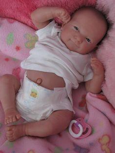 Reborn baby girl, Berenguer newborn, preemie, tummy plate, handknit hat and blanket