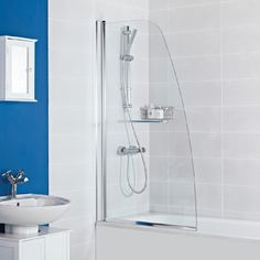 Haven Angled Bath Screen --- Roman presents the Haven Angled Bath Screen which comes complete with an integrated towel rail for the ultimate style statement. --- Available from Roman Ltd - British Made Luxury Shower Enclosures and Bath Screens. Images Copyright www.roman-showers.com