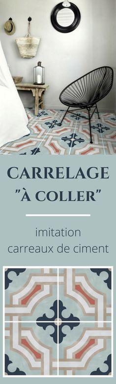 """Du carrelage """"à coller"""" imitation carreaux de ciment pour relooker les murs ou le sol."""