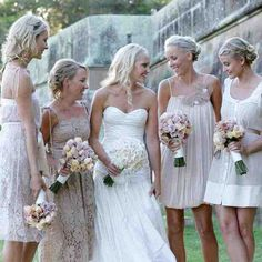 Mismatched bridesmaids Mismatched Bridesmaid Dresses in Neutral Colors photo Wedding Dress Chiffon, Bridal Wedding Dresses, Chic Wedding, Bridal Style, Dream Wedding, Gold Wedding, Summer Wedding, Lace Dress, Daytime Wedding