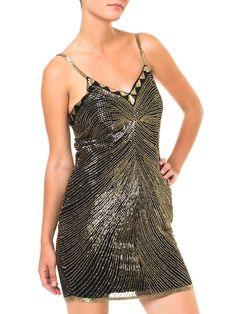 "1970s Gold And Glitter"" Shiny Mini Dress"