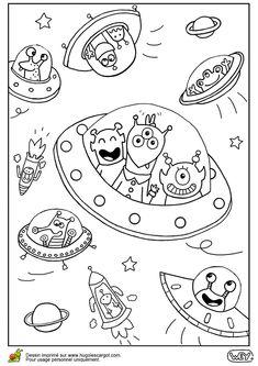 Coloriage Dextraterrestre.53 Meilleures Images Du Tableau Coloriages Cosmonautes Et